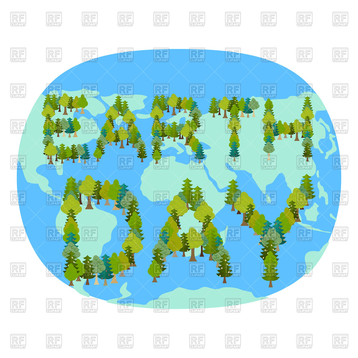 1200x1200 Earth Day Poster With Planet Map And Trees Royalty Free Vector