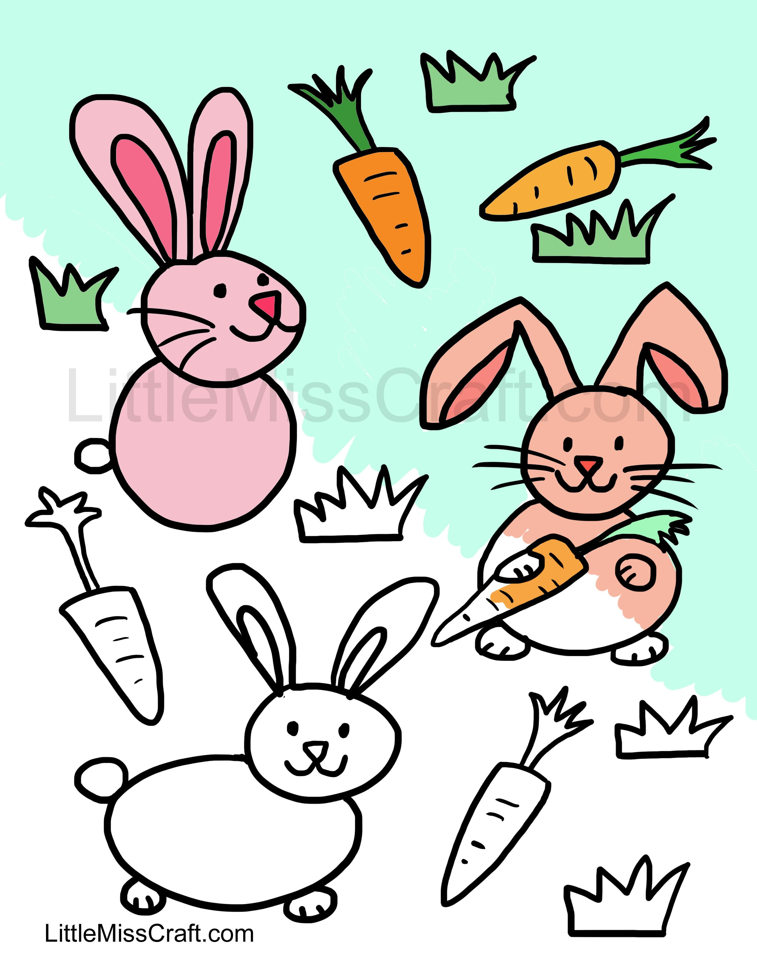 2550x3300 Cute Bunnies Coloring Page For Easter! Ready To Print