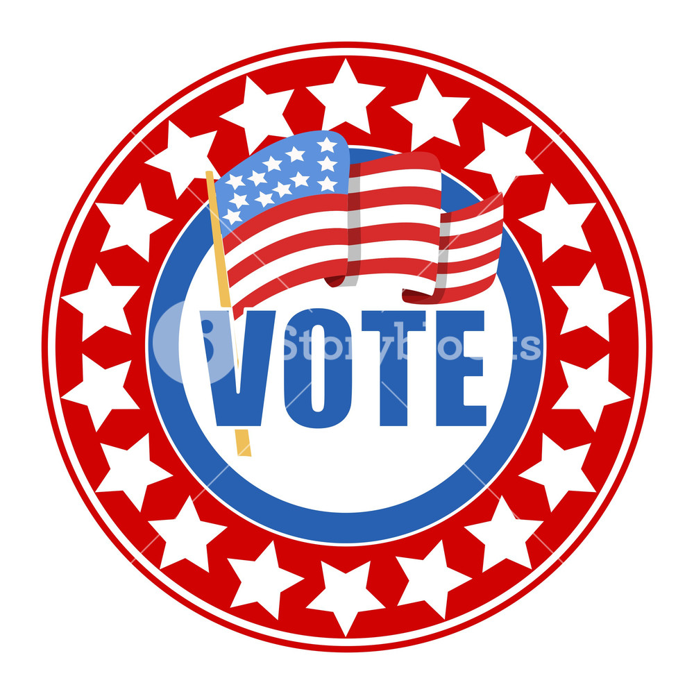 1000x1000 Circular Vote Badge Election Day Vector Illustration Royalty Free