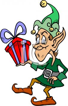 227x350 Royalty Free Cliprt Image Funny Little Christmas Elf Carrying