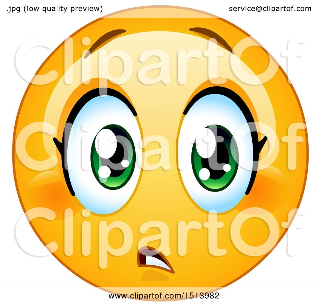 1080x1024 Clipart Of A Yellow Female Emoji Face Expressing Concern