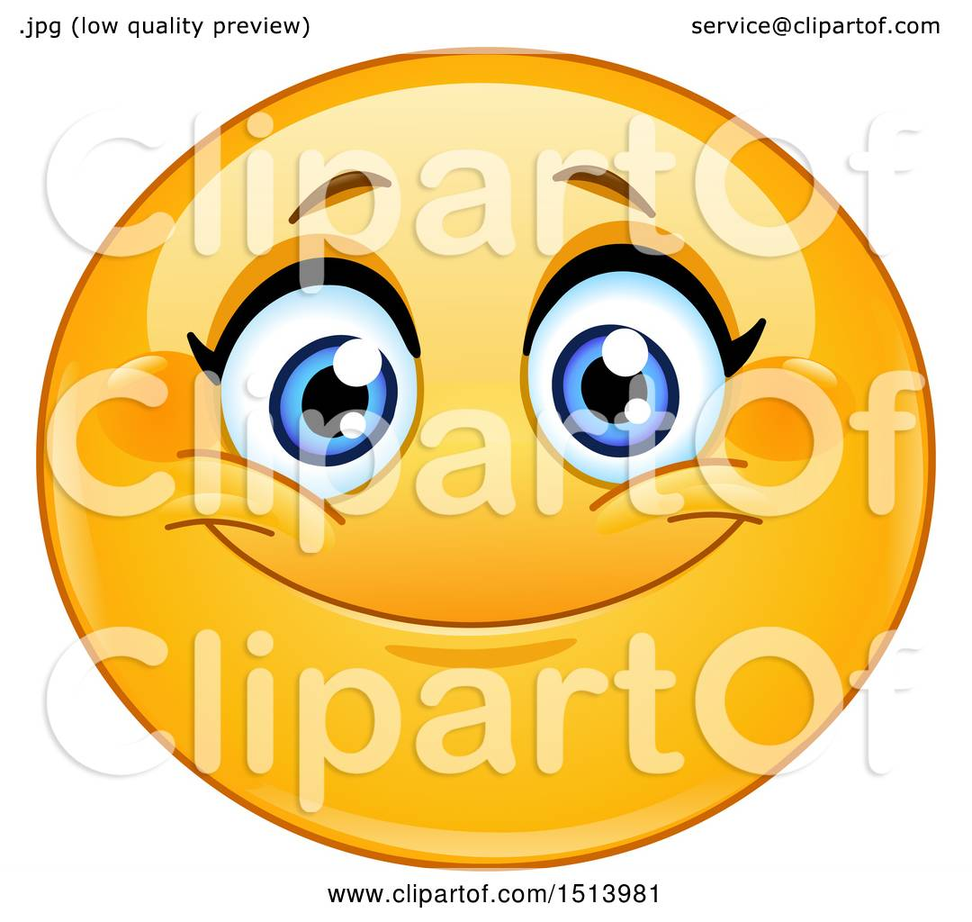 1080x1024 Clipart Of A Yellow Female Emoji Face Smiling