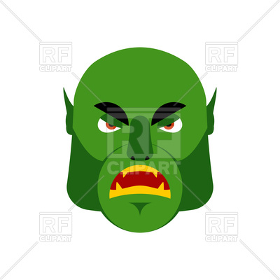 400x400 Ogre Angry Emoji. Goblin. Green Monster Face Royalty Free Vector