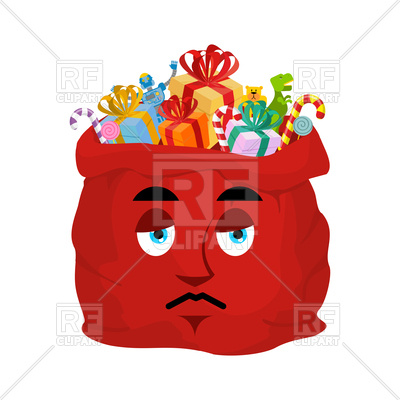 400x400 Santa's Bag Sad Emoji Royalty Free Vector Clip Art Image
