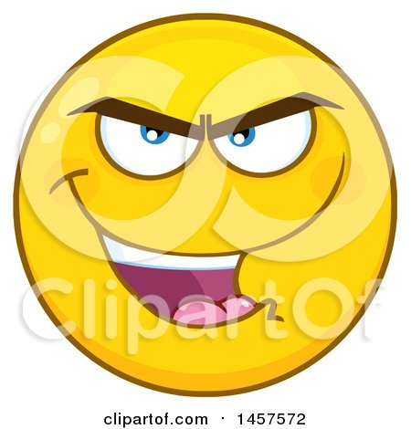 450x470 Clipart Of A Cartoon Evil Emoji Smiley Face