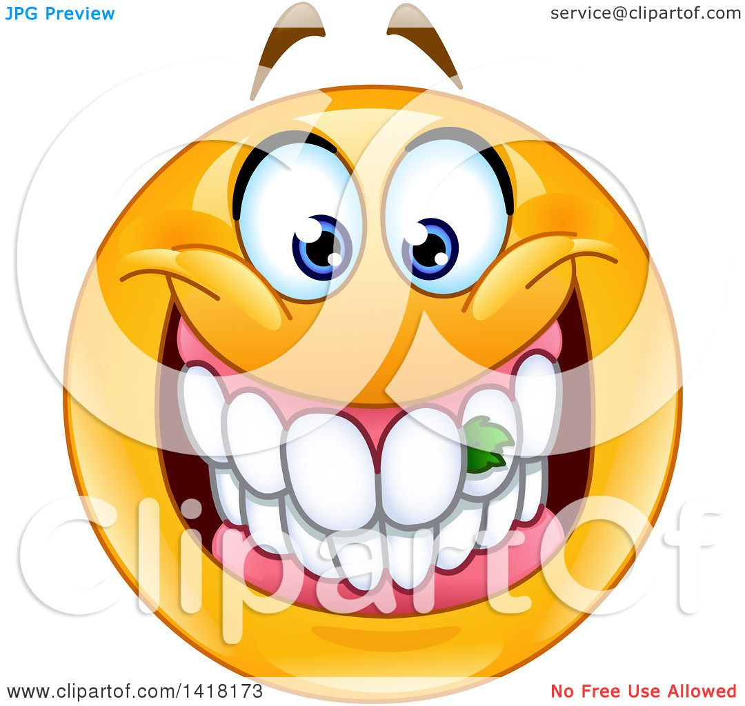 1080x1024 Clipart Of A Grinning Emoji Smiley Face With Food Stuck In His