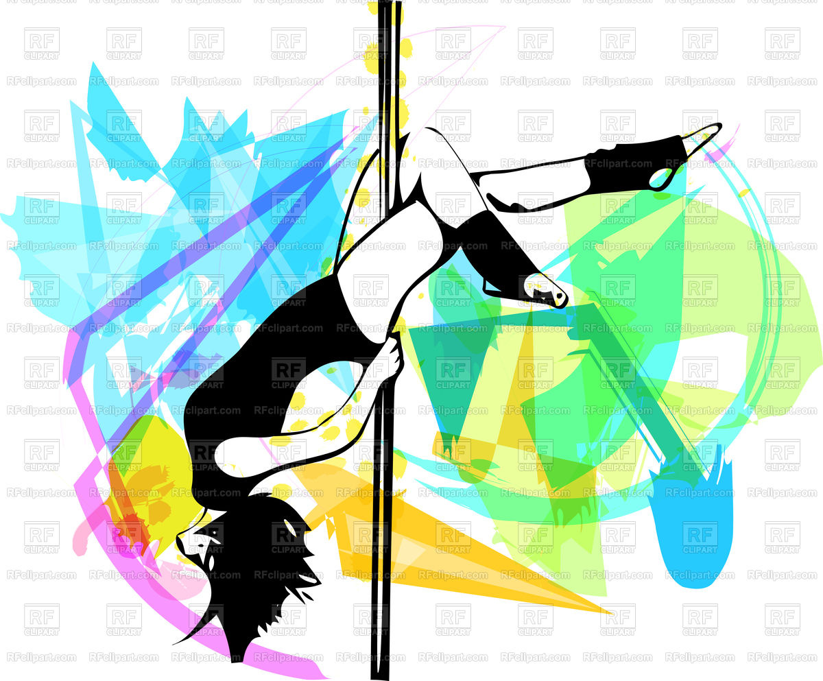 1200x993 Young Pole Dance Woman Illustration On Abstract Background Royalty