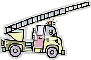 300x199 Clip Art Image The Ladder Extended On A Fire Truck