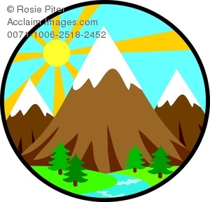Awesome 300x289 Clip Art Image Of Mountains In The Forest With A Bright Sun In The