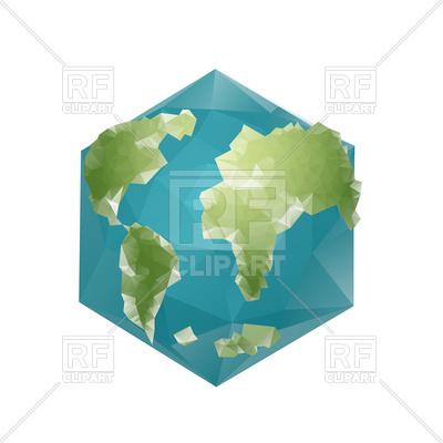400x400 Earth Polygon. Planet Geometric Figure Hexagon. Royalty Free