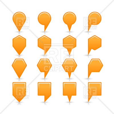 400x400 Orange Map Pins In Geometric Shapes Royalty Free Vector Clip Art