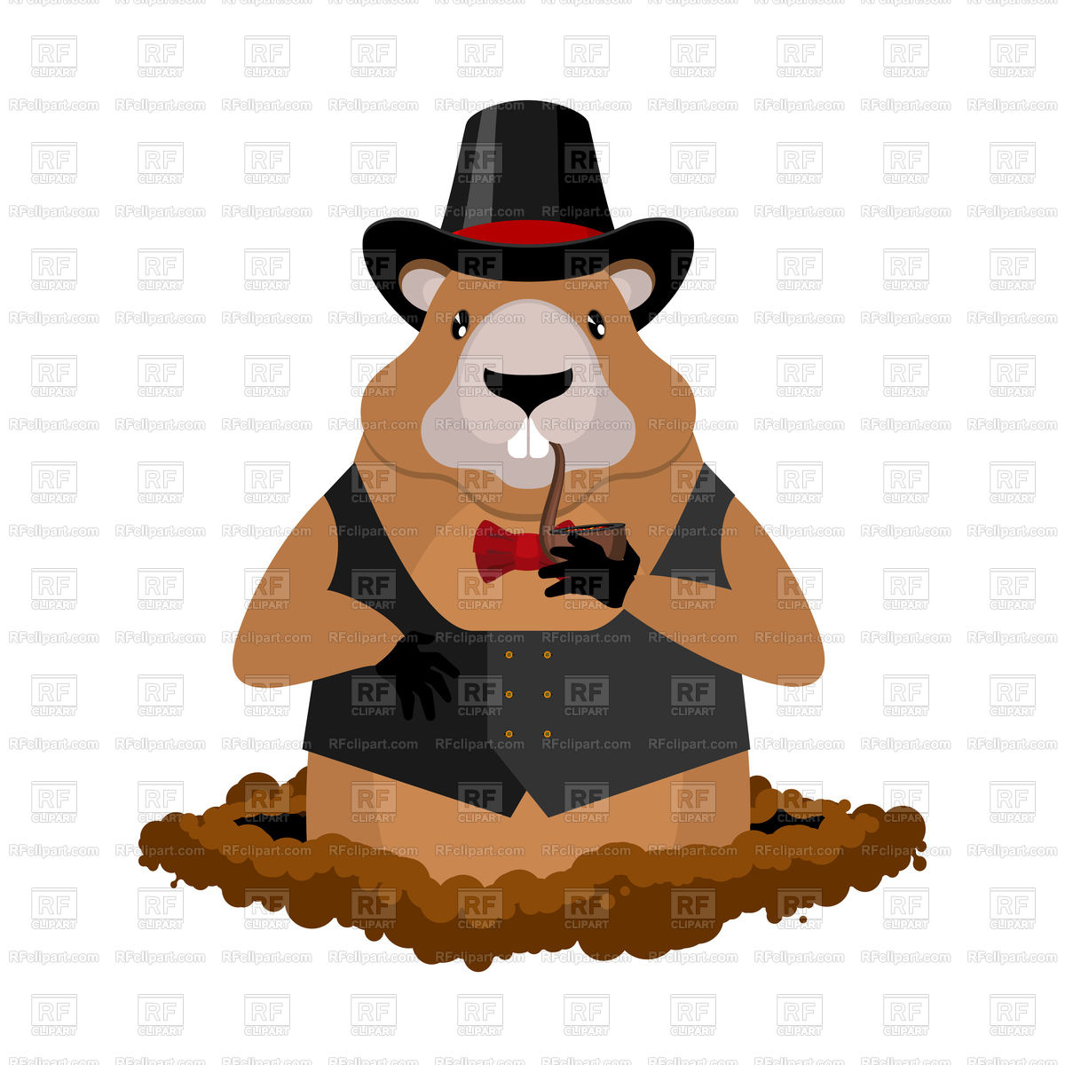 1200x1200 Marmot In Hat And With Pipe Royalty Free Vector Clip Art Image
