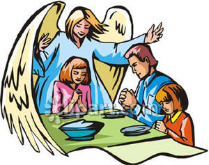 300x237 A Guardian Angel Watching Over A Family Saying Grace At The Table