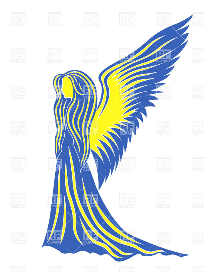 675x900 Profile Of Woman Angel In Colors Of Flag Of Ukraine Royalty Free