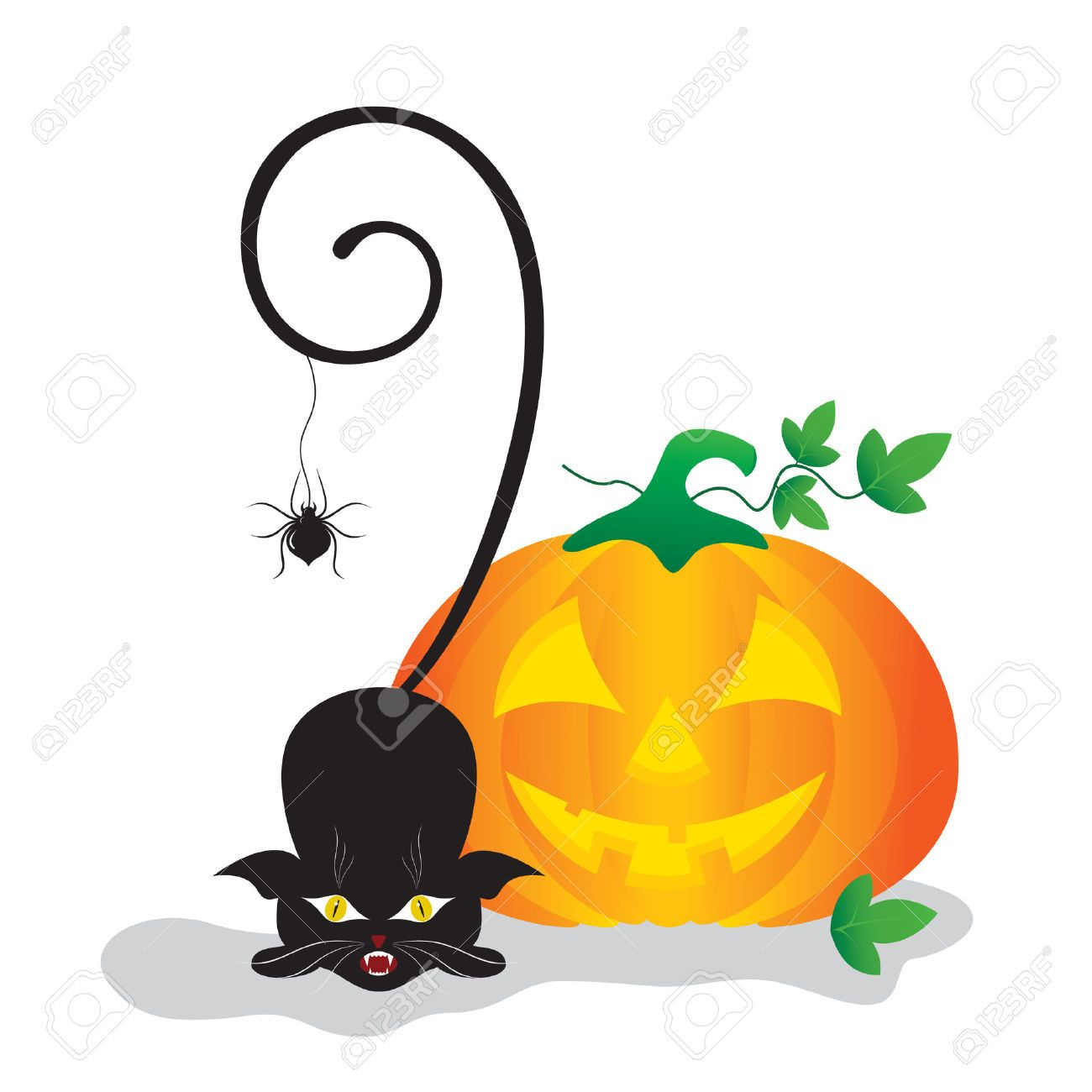1300x1300 Halloween Clip Art With Pumpkin, Spider And A Black Cat. Royalty