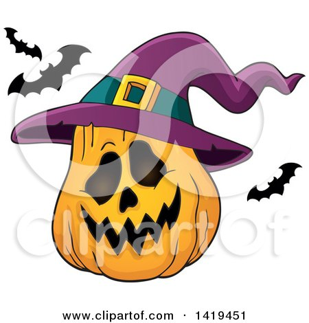 450x470 Clipart Of A Sketched Black And White Halloween Witch Hat