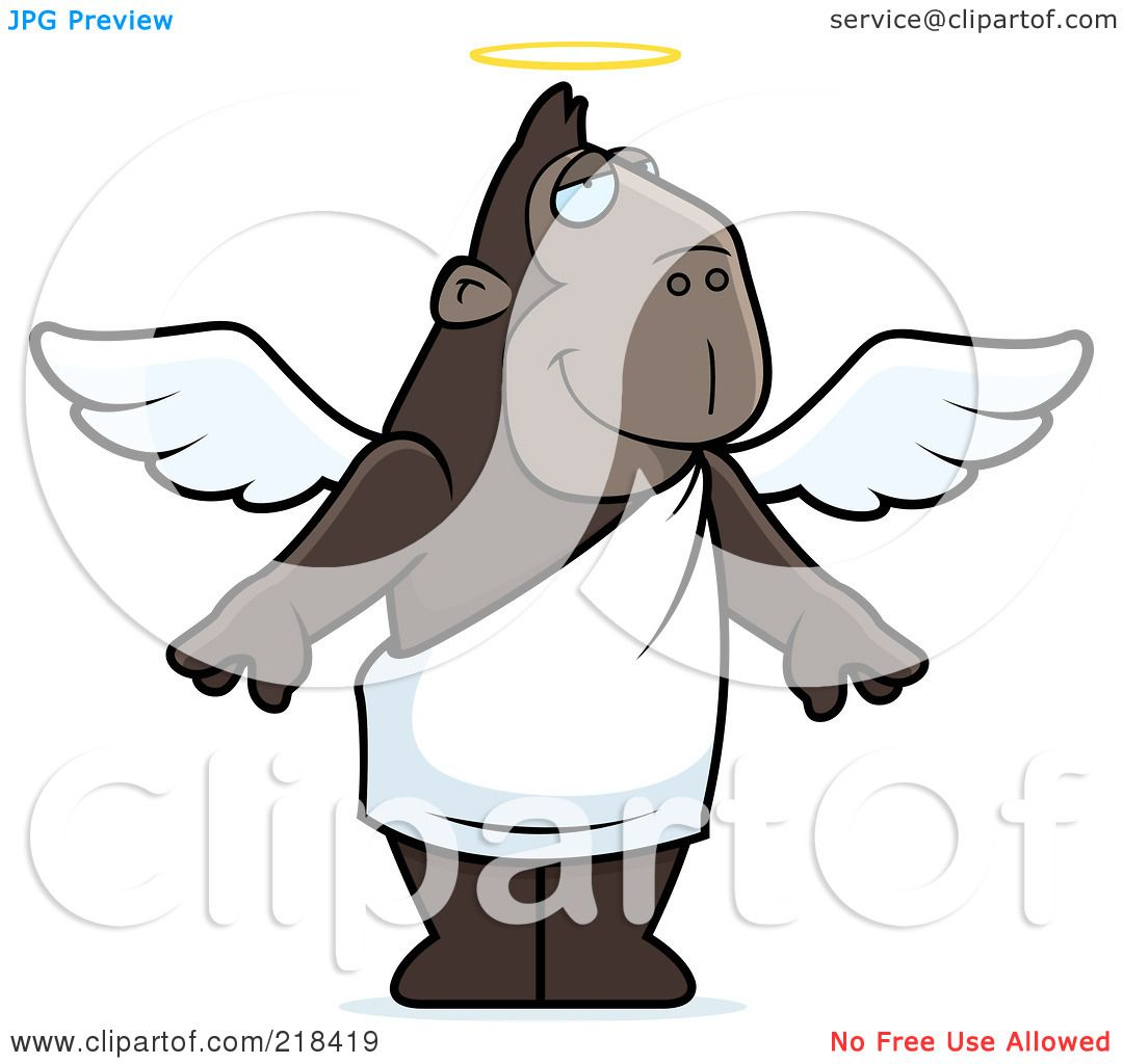 1080x1024 Royalty Free (Rf) Clipart Illustration Of An Angel Ape With A Halo