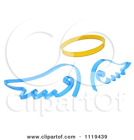 450x470 Clipart Of 3d Blue Angel Wings And A Golden Halo