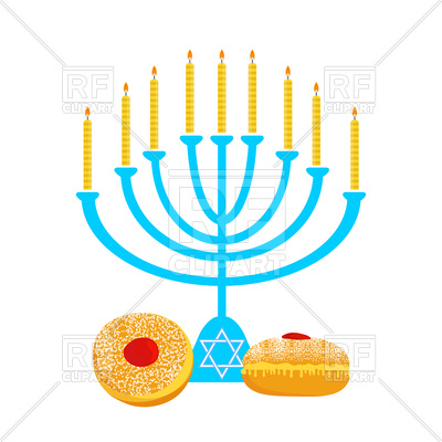 400x400 Hanukkah Menorah With And Traditional Donuts