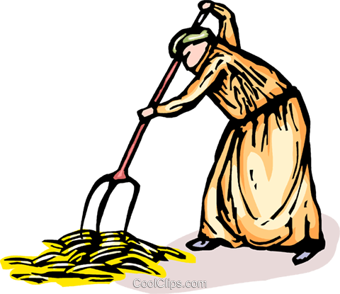 480x415 Farmer Gathering Harvest Or Crop Royalty Free Vector Clip Art