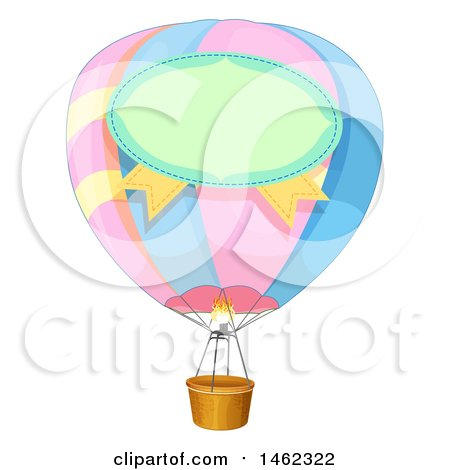 450x470 Clipart Of A Label On A Pastel Hot Air Balloon