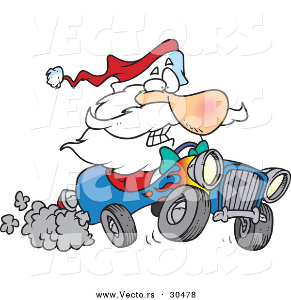 600x620 Cartoon Vector Of A Scared Santa Driving Super Fast Hot Rod Car By