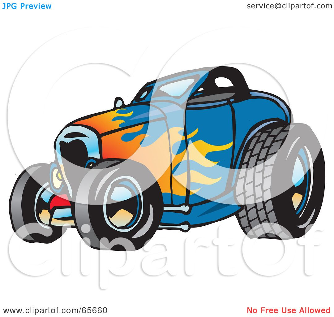 1080x1024 Royalty Free (Rf) Clipart Illustration Of Blue Hot Rod