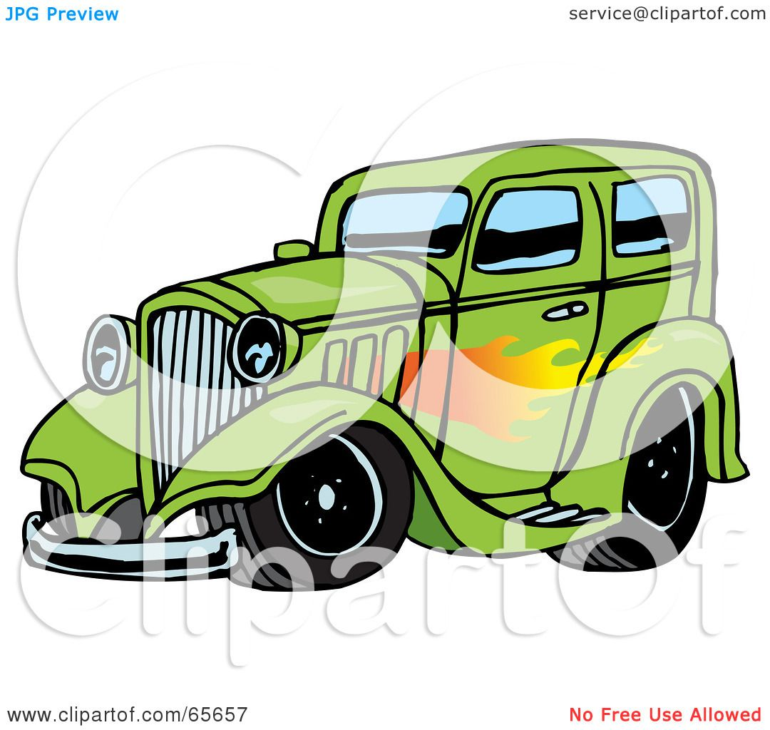 1080x1024 Royalty Free (Rf) Clipart Illustration Of Green Hot Rod