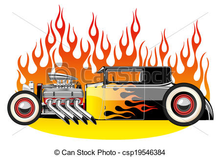450x320 A Vector Illustration Of A Vintage Hot Rod. Gradient Mash Vector