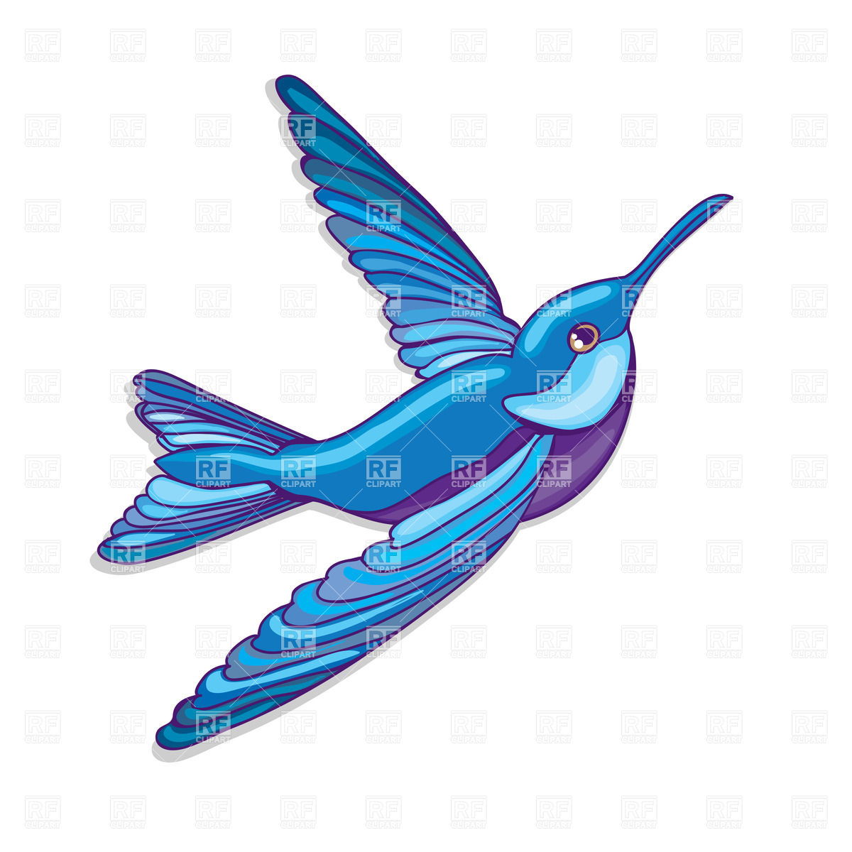 1200x1200 Blue Flying Hummingbird Royalty Free Vector Clip Art Image