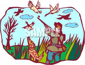 300x231 Man Bird Hunting Clipart Panda