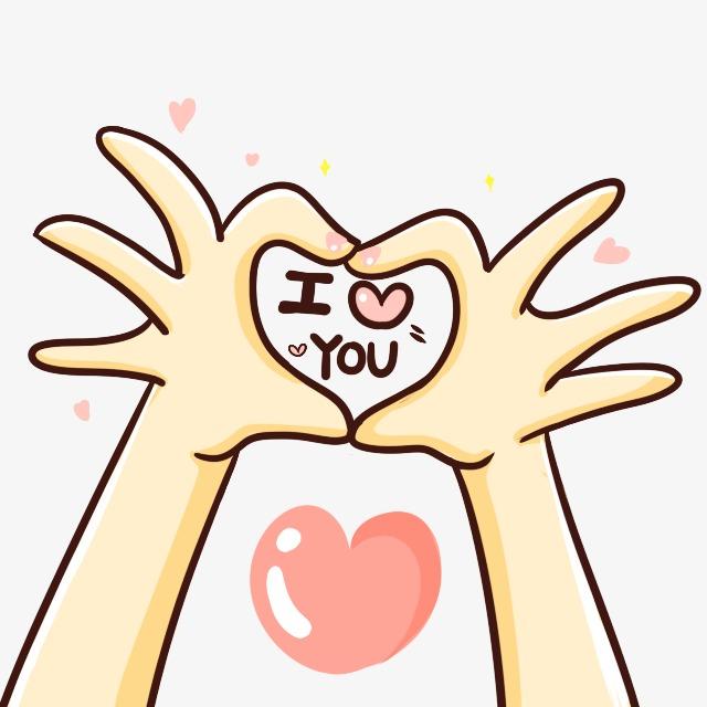 640x640 I Love You Valentine Float Gesture, Cute Cartoon, Cartoon Creative