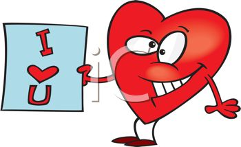 350x214 Picture Of An Animated Heart With A Cheesy Grin Holding An I Love