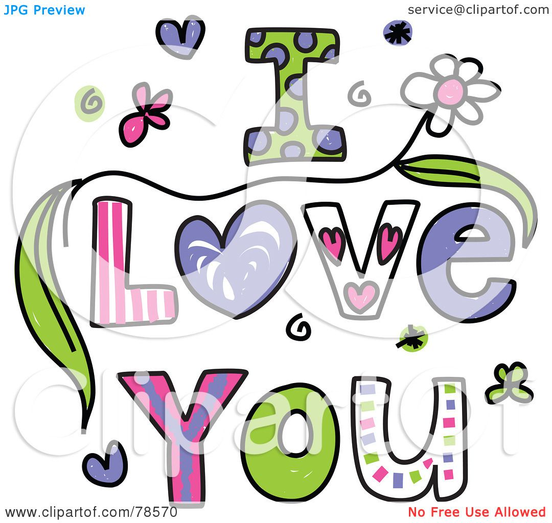 1080x1024 Royalty Free (Rf) Clipart Illustration Of Colorful I Love You