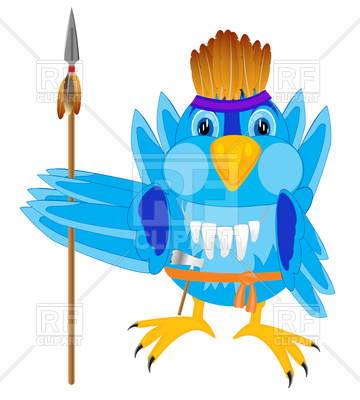 360x400 Bird Indian Warrior With Weapon Royalty Free Vector Clip Art Image