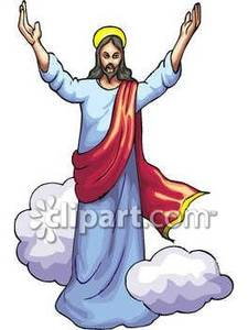 225x300 Jesus Walking Among Clouds, His Arms Raised