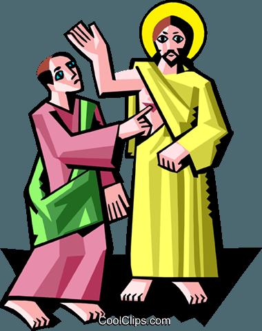 380x480 Jesus With Thomas Royalty Free Vector Clip Art Illustration