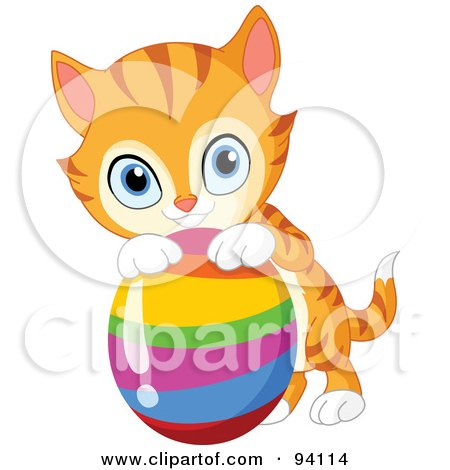 450x470 Royalty Free (Rf) Clipart Illustration Of A Cute Striped Ginger