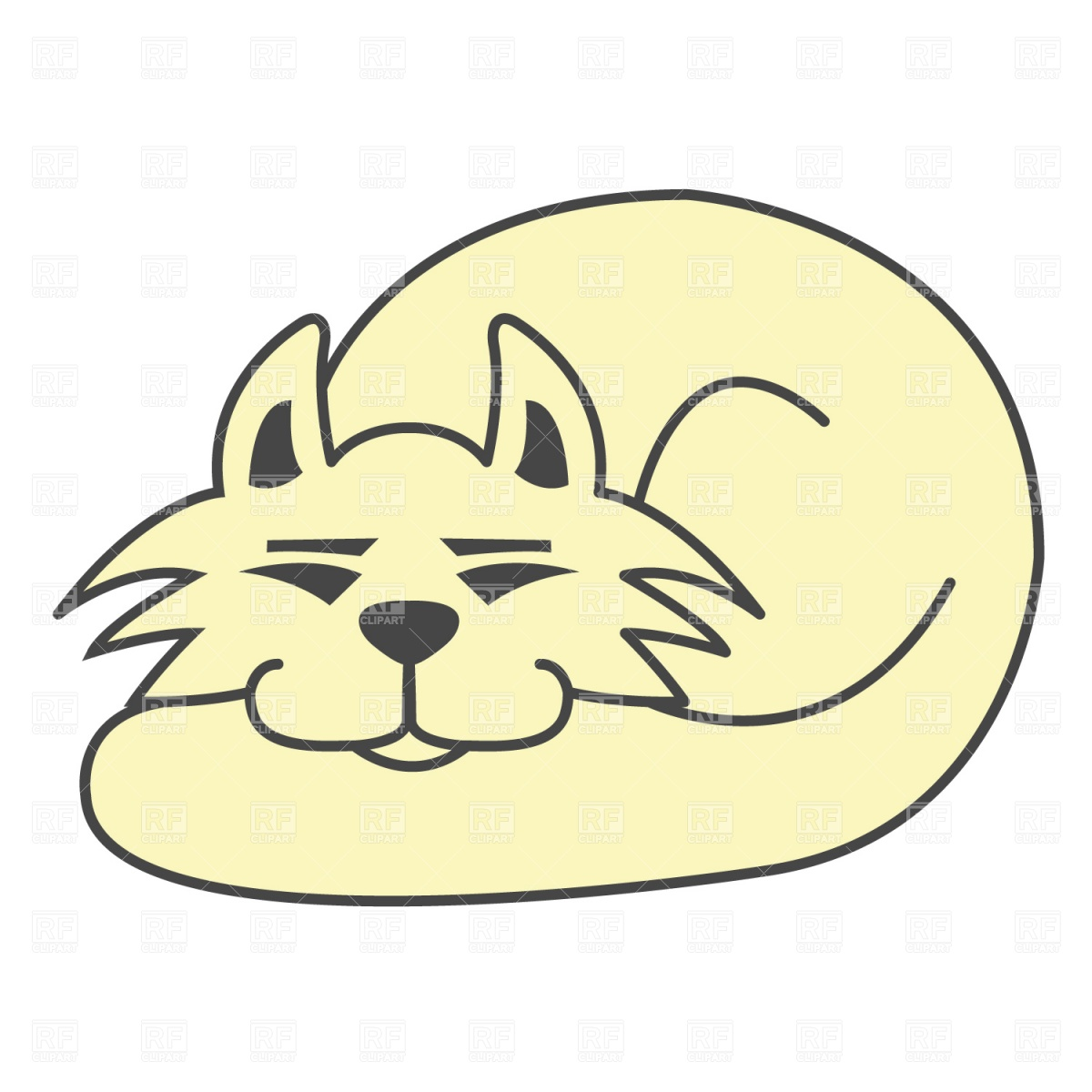 1200x1200 Sleeping Cat Royalty Free Vector Clip Art Image