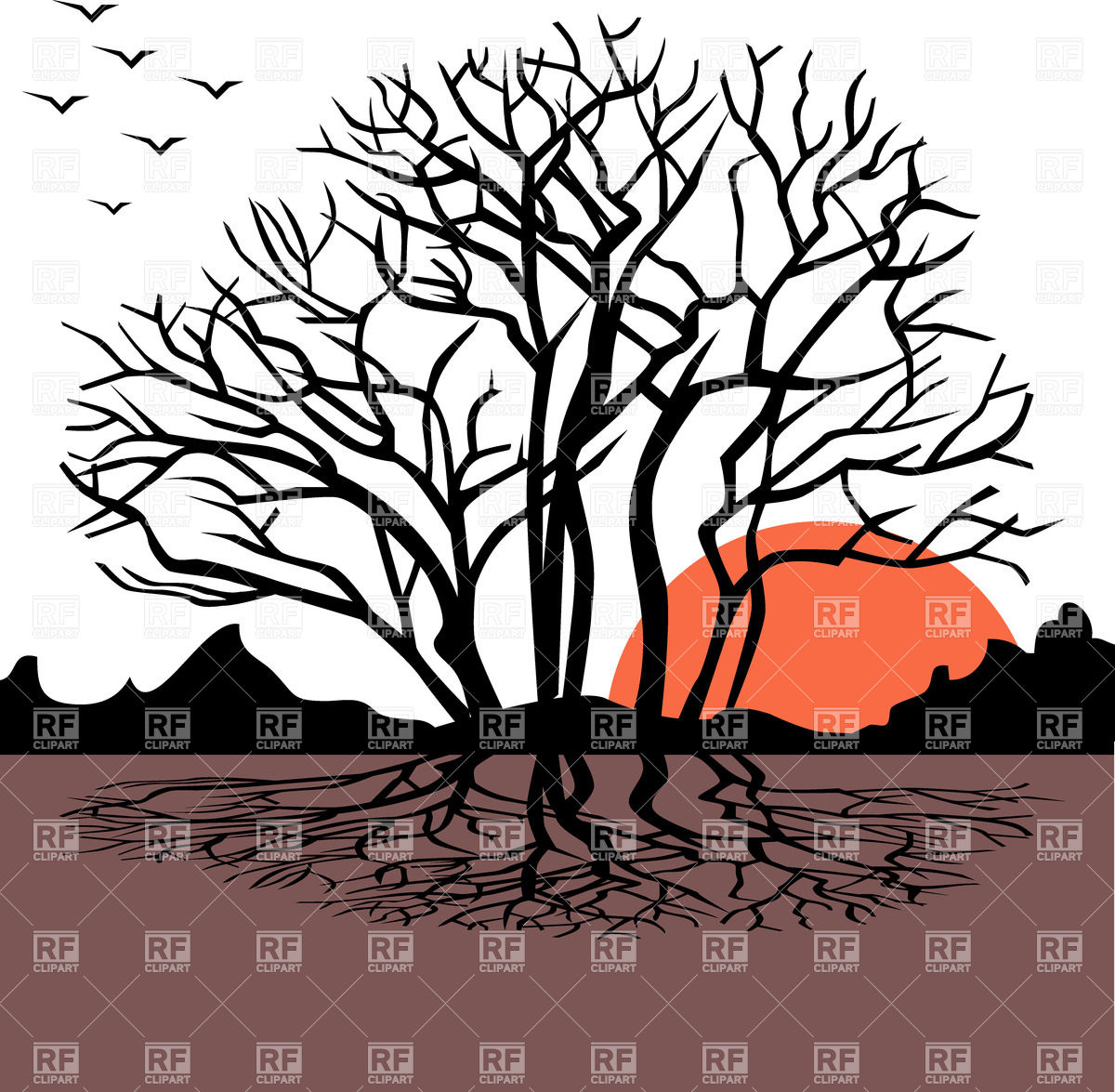 1200x1175 Landscape With Dry Leafless Tree On Sunrise Royalty Free Vector