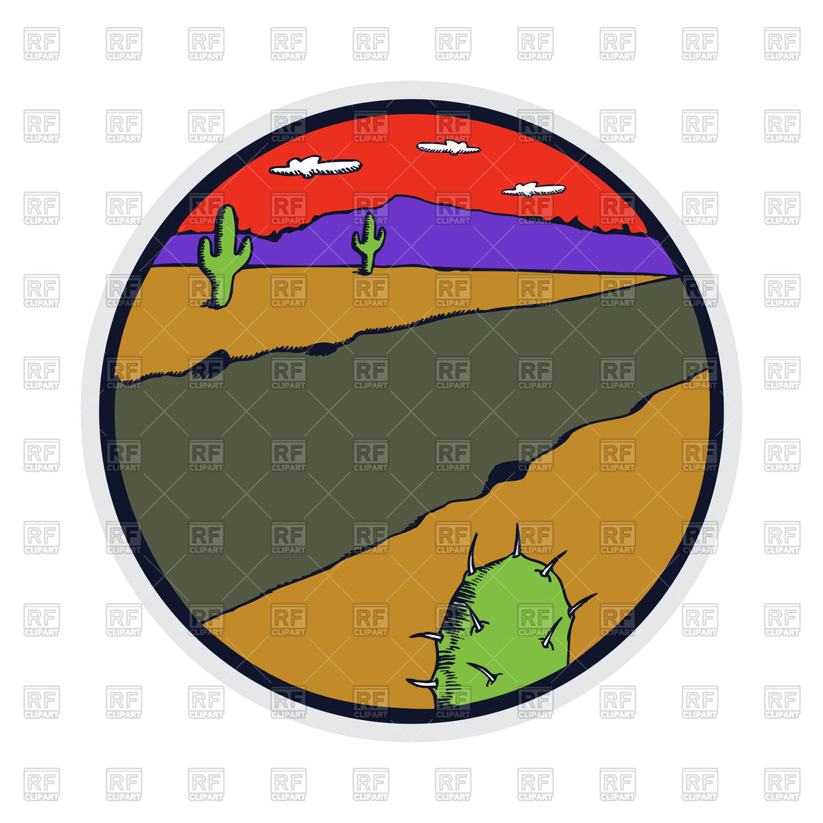 1200x1200 Retro Style Badge Of Desert Landscape With Cactus Royalty Free