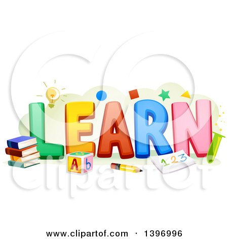 450x470 Clipart Of The Word Learn With School Items