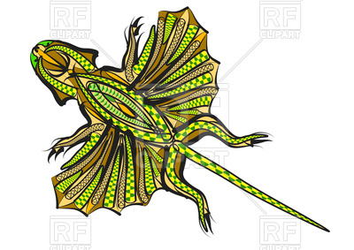 400x283 Ethnic Flying Lizard Royalty Free Vector Clip Art Image