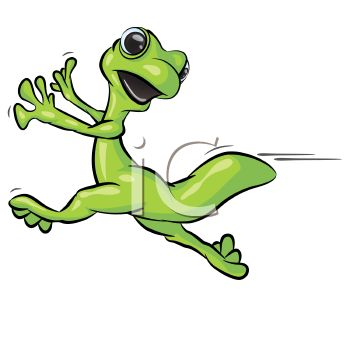 350x350 Cartoon Gecko Running Scared