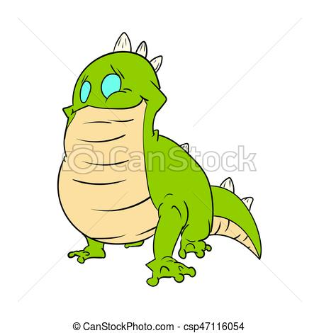 450x470 Cartoon Green Lizard. Colorful Vector Illustration Of A Clipart