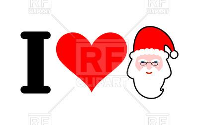 400x251 I Love Santa, Heart And Face Of Santa Royalty Free Vector Clip Art