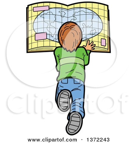 450x470 Clipart Of A Caucasian Boy Laying On The Floor And Reading A Map