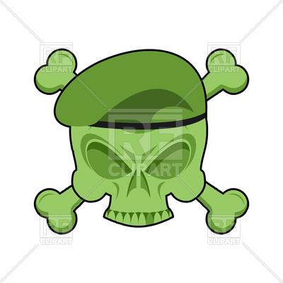 400x400 Military Emblem With Skull In Beret Royalty Free Vector Clip Art