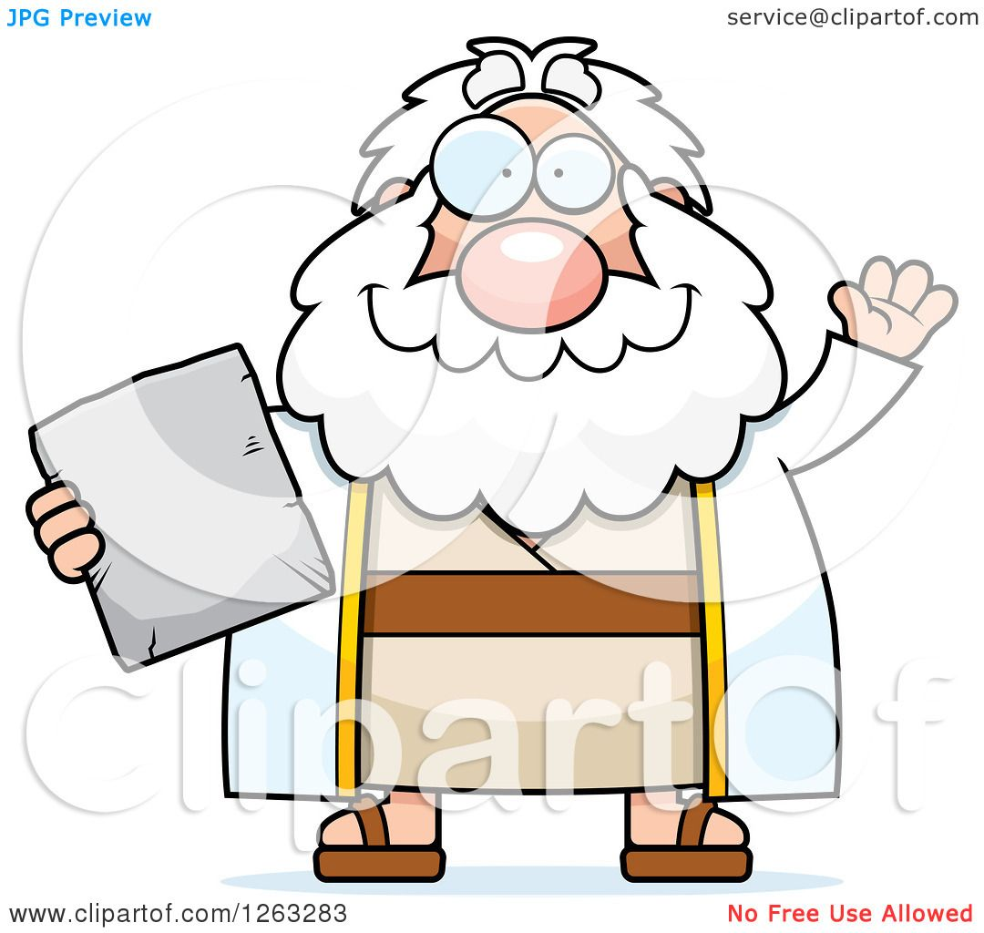1080x1024 Clipart Of A Cartoon Friendly Waving Chubby Moses Holding A Tablet