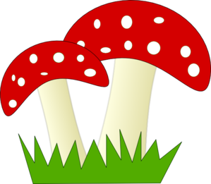 299x261 Red And White Dotted Mushrooms Clip Art